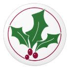 Retro Holly Berries I, Red Trim Ceramic Knob
