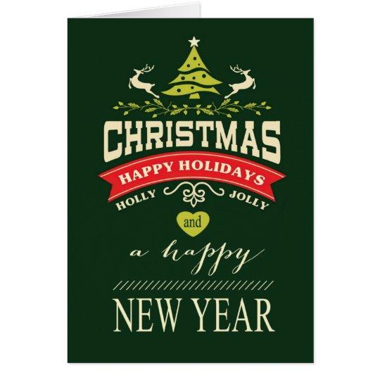 Retro Holly Jolly Christmas Typography | green Card