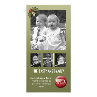Retro Holly with space for 4 photos Card