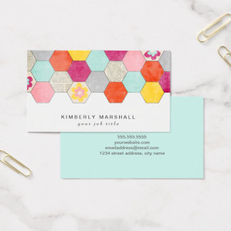 Retro Honeycomb Design Business Cards / Blue
