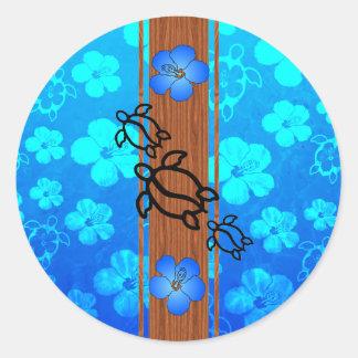 Retro Honu Surfboard Classic Round Sticker