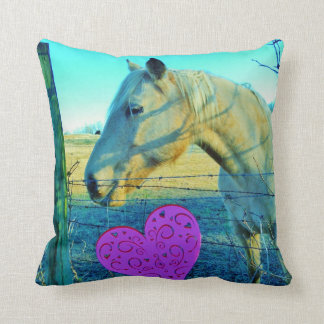 Retro Horse Pink Heart Throw Pillow
