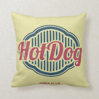 Retro Hot Dog Label Designer Accent Pillows