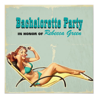 retro hot pin up girl bachelorette party card