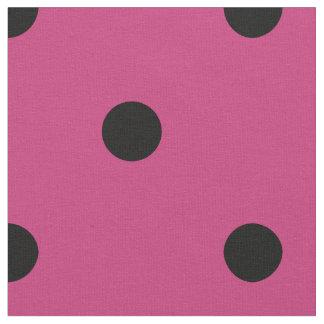 Retro Hot Pink and Black Polka Dot Pattern Fabric
