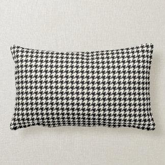 Retro Houndstooth Pattern Black and Cream Lumbar Pillow