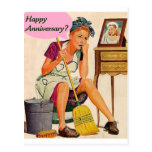 Retro Housewife Anniversary Postcard