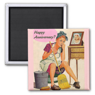 Retro Housewife Anniversary Square Magnet