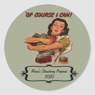 Retro Housewife Canning Label Custom Name and Date