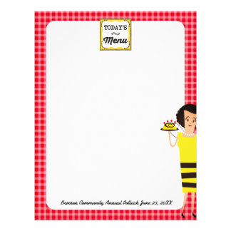Retro housewife chef bee homestyle menu letterhead