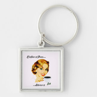 Retro Housewife Coffee and Advice Silver-Colored Square Keychain
