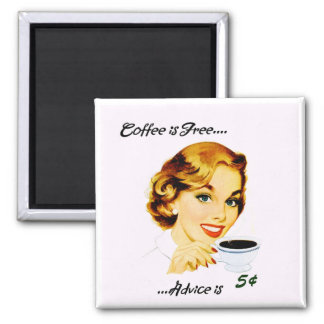 Retro Housewife Coffee and Advice Square Magnet
