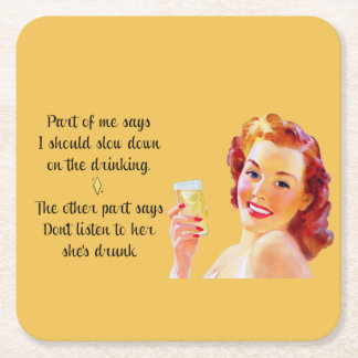 Retro Housewife Funny Quote Drinking Coaster