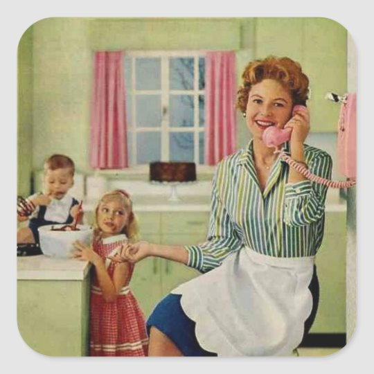 Retro Housewife in Kitchen Square Sticker