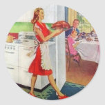 Retro Housewife on Thanksgiving Round Sticker