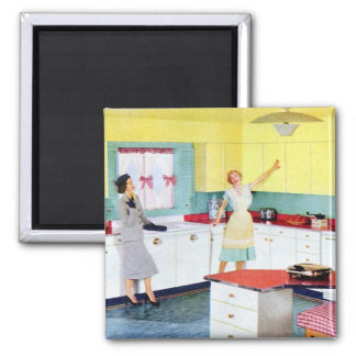 Retro Housewives in Kitchen Magnet