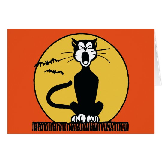 Retro Howling Halloween Cat and Moon Card