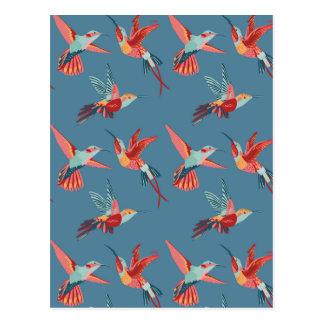 Retro Hummingbird Pattern 2 Postcard