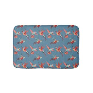 Retro Hummingbird Pattern Bath Mat