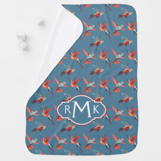 Retro Hummingbird Pattern | Monogram Baby Blanket