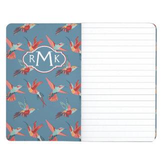 Retro Hummingbird Pattern   Monogram Journal