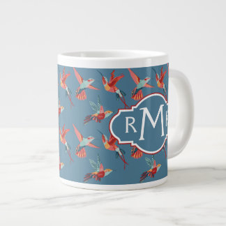 Retro Hummingbird Pattern | Monogram Large Coffee Mug