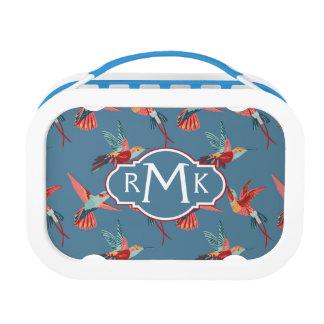 Retro Hummingbird Pattern | Monogram Lunch Box