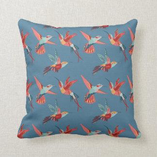 Retro Hummingbird Pattern Throw Pillow