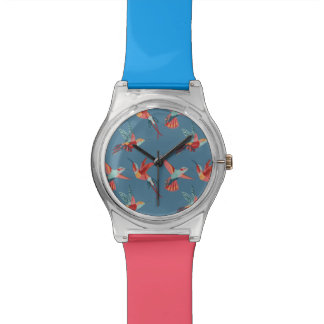 Retro Hummingbird Pattern Wristwatch