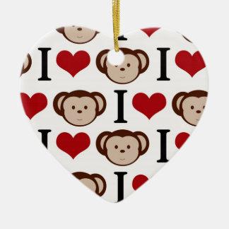 Retro I Love Monkeys Ceramic Heart Ornament