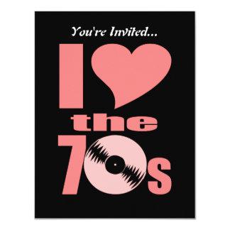 Retro I Love the 70s   70's Party Vinyl Record Card