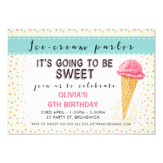Retro Ice-Cream Parlor Birthday Party Invitation