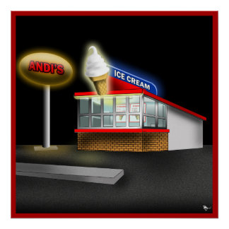 Retro Ice Cream Stand Poster