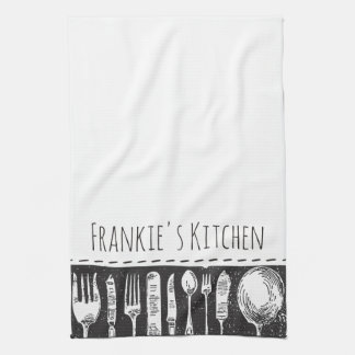 Retro Illustrated Cutlery Kitchen Towel
