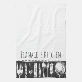 Retro Illustrated Cutlery Kitchen Towel