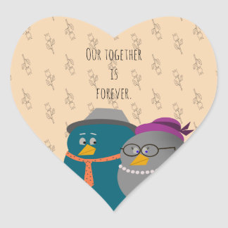 Retro Illustration Birds Love Together Forever Heart Sticker