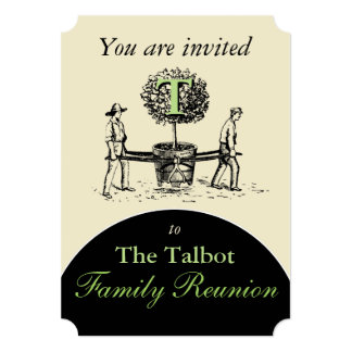 Retro Illustration Gardeners Tree Family Reunion I Card