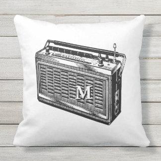 Retro Illustration Radio Monogram Outside Pillow