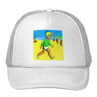 Rétro illustration vintage de garçon de plage d'en casquettes de camionneur