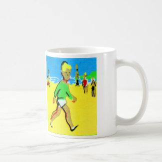 Rétro illustration vintage de garçon de plage d'en tasses à café