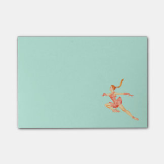 Retro Image of A Figure Skater In A Pink Outfit Post-it Notes