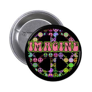 Retro Imagine Peace 2 Inch Round Button