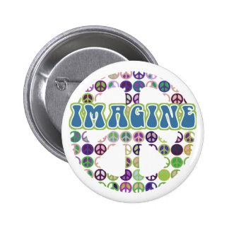 Retro Imagine Peace Buttons