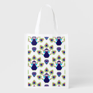 retro india exotic peacock reusable grocery bags