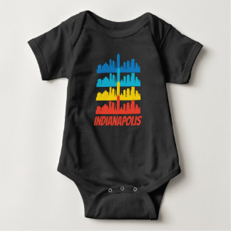 Retro Indianapolis IN Skyline Pop Art Baby Bodysuit