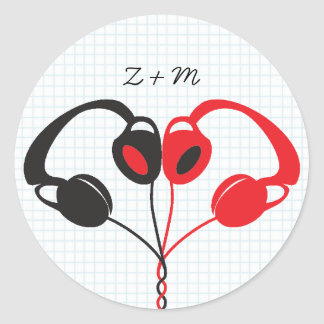 Retro Indie Headphones Heart Wedding Red and Black Classic Round Sticker