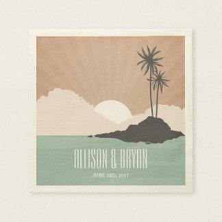 Retro Inspired Island Beach Wedding Napkins Paper Napkins