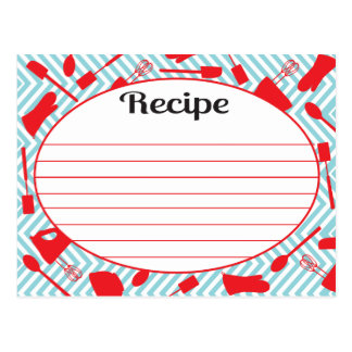 Retro inspired Kitchen utensil Recipe Cards