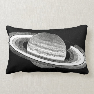 Retro Inspired Monochrome Planet Saturn Space Lumbar Pillow