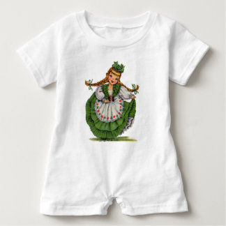 Retro Irish Doll dancer with plaits take a bow Baby Romper